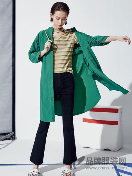 HALOHAPPY女装2018春夏宽松蓝色外套