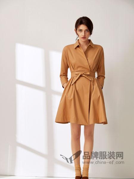 SN女装2018春夏韩版时尚显瘦V领系带中长款纯色A字连衣裙