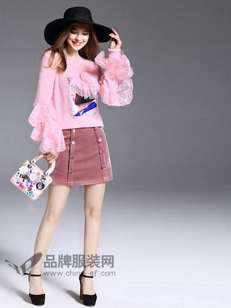 诺羽西女装2018春韩版宽松粉色甜美少女风拼接蕾丝大袖子针织薄毛衣