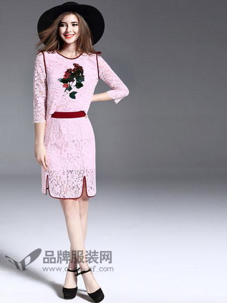 诺羽西女装2018春丝镂空玫瑰刺绣甜美少女修身显瘦连衣裙