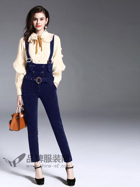 诺羽西女装2018春时尚优雅系带领雪纺长袖衬衣