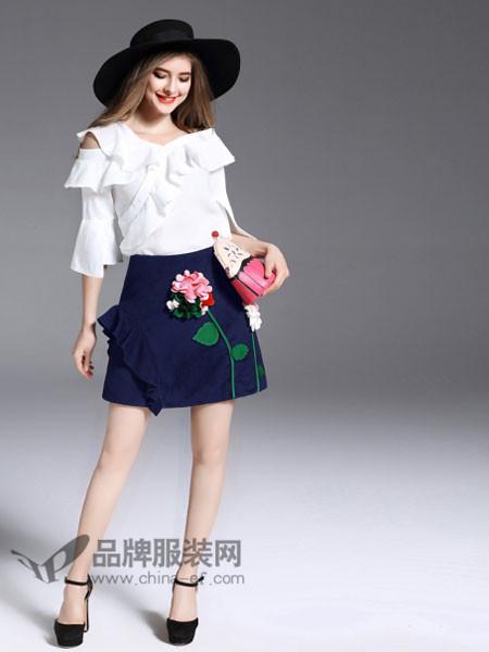 诺羽西女装2018春斜露肩喇叭袖衬衫配不规则荷叶边上衣
