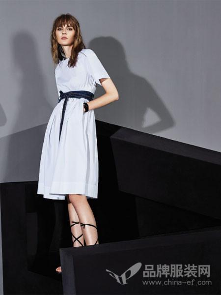 况珈儿女装2018春夏显瘦腰带白色裙