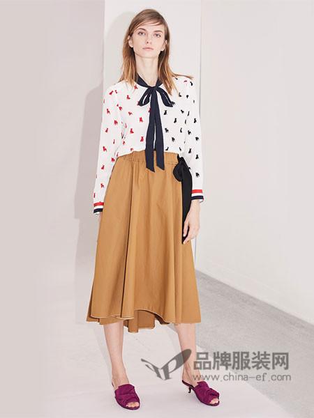 衣架女装2018春单排扣印花修身系带领口桑蚕丝长袖衬衫上衣