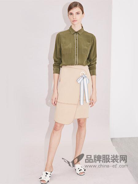 衣架女装2018春通勤围裹式半裙拉链系带蝴蝶结三角针中长款裙子