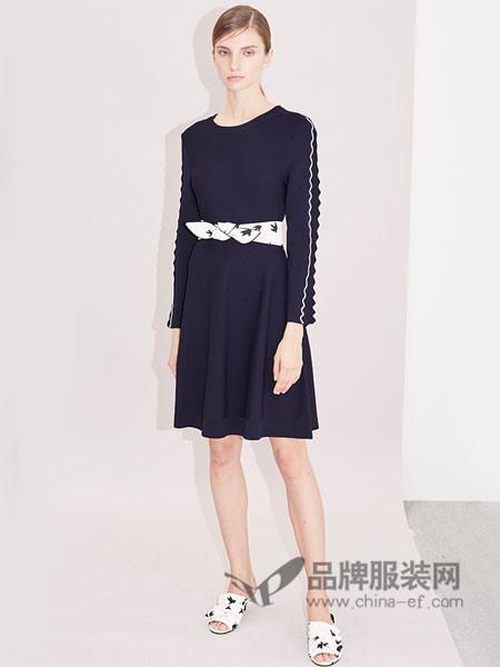 衣架女装2018春纯色X型修身长袖波浪撞色罗纹针织伞裙连衣裙