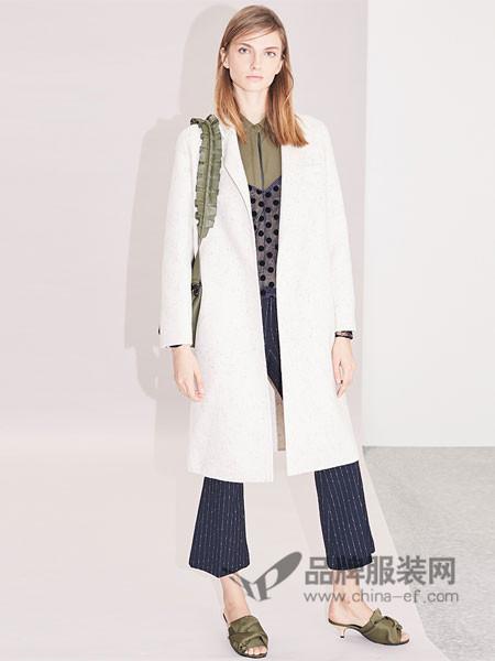 衣架女装2018春简约风格长袖翻领长款风衣外套