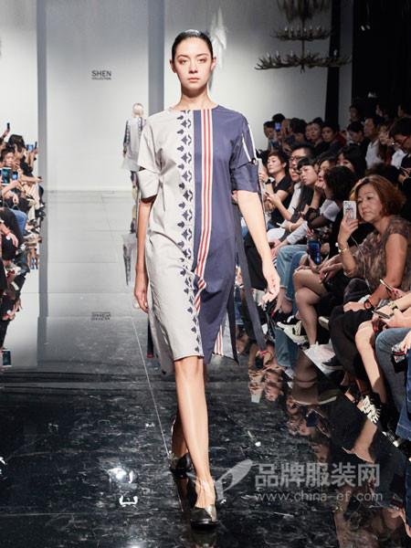 凯伦诗女装2018春夏欧式个性拼接色短袖连衣裙