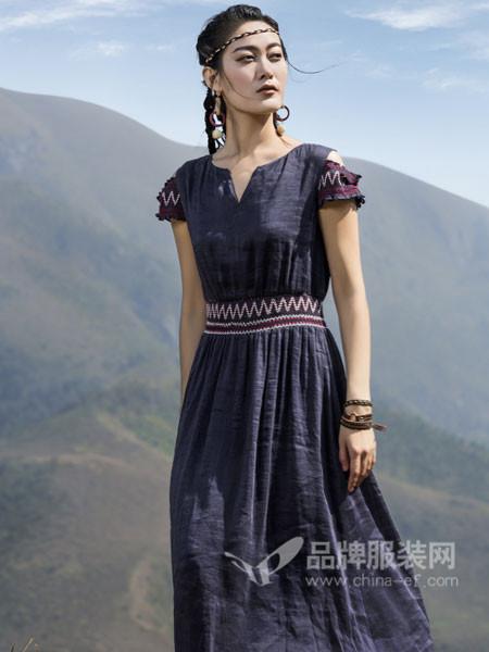 弗蔻Fu Kou女装2018春夏民族风花边袖长款连衣裙