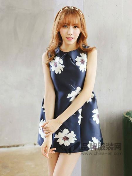 杰丝菲女装优雅气质韩式无袖花朵连衣裙