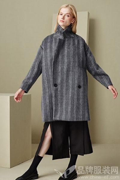 有瘾女装欧式条纹中长呢子大衣