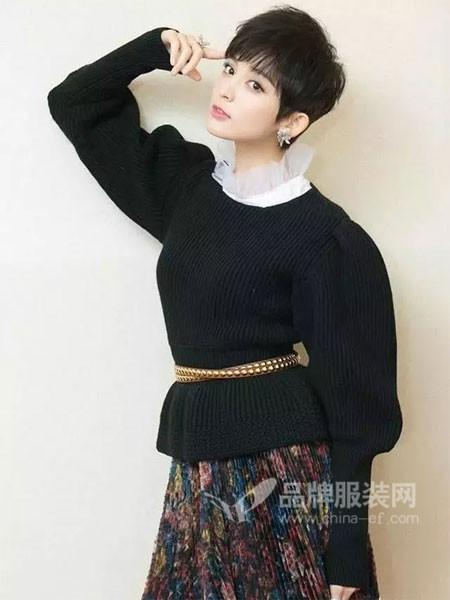 齐�K女装2018春时尚优雅气质拉夫领上衣