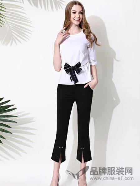 Scarlet斯珈妮女装2018春夏复古高腰喇叭裤修身前开叉黑色裤子