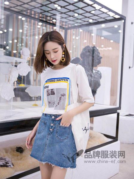 左韩女装2018春时尚休闲印花中长宽松T恤