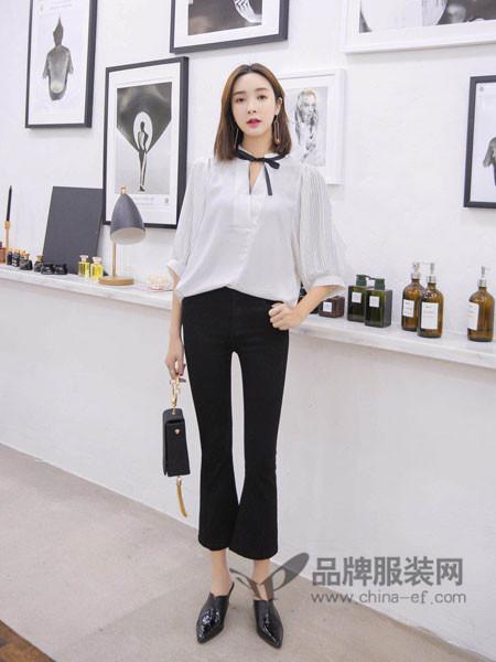左韩女装2018春时尚优雅气质雪纺五分袖上衣