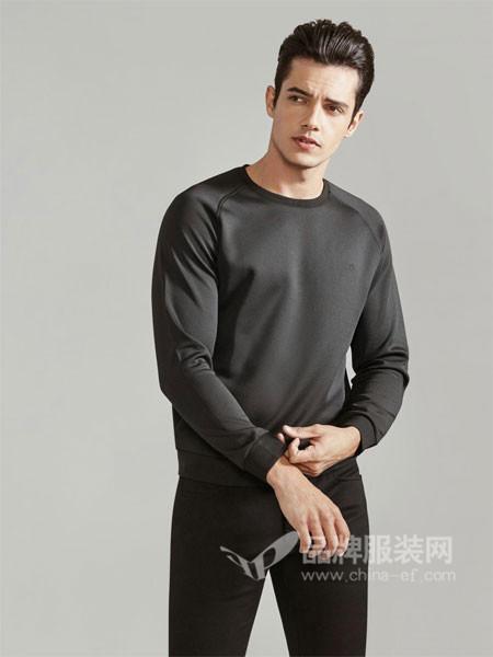 GY金利来时尚休闲男装男装2018春纯色T恤男士舒适抗皱长袖打底衫T恤
