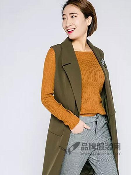 允硕女装2018春时尚休闲中长西装领马夹外套