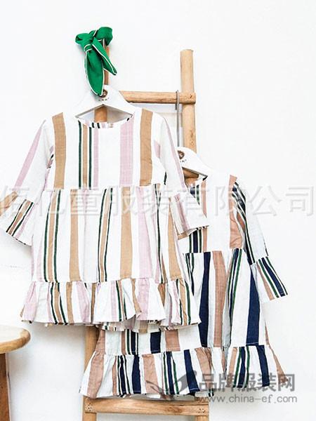 小熙熙/熙熙布衣童装2018春夏优质舒适时尚彩条竖纹连衣裙