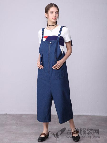 ZIRONG子容女装2018春修身牛仔背带裙