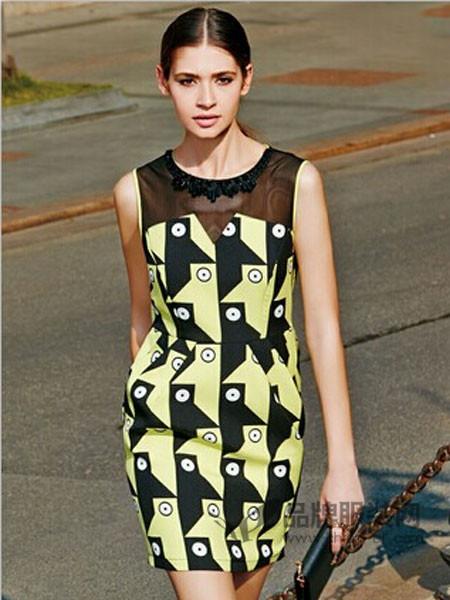 梵瑞妮女装时尚优雅气质拼接几何图连衣裙