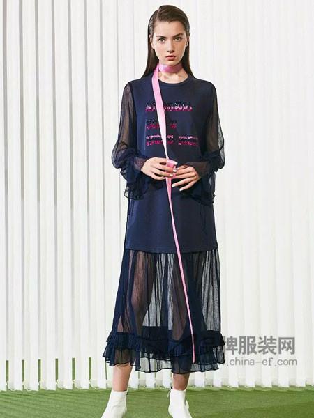 柒秀服饰女装2018春网纱拼接假两件套长款长袖连衣裙