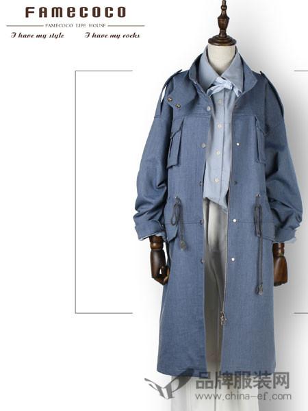 范可儿女装2018春大衣女中长款过膝双排扣毛呢外套