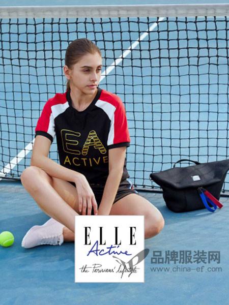 ELLE Active运动装2018春休闲撞色短袖女套装
