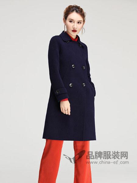 缘曼女装2017秋冬中长加厚立领修身显瘦呢子大衣