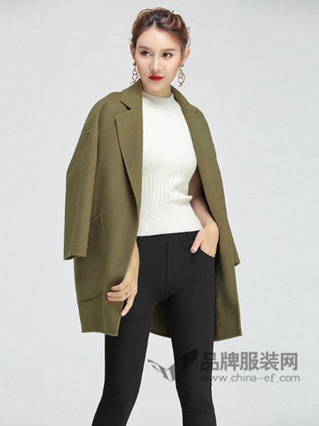 缘曼女装2017秋冬中长款宽松显瘦一粒扣毛呢外套