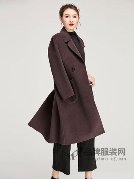 缘曼女装2017秋冬长款手工双面羊毛大衣