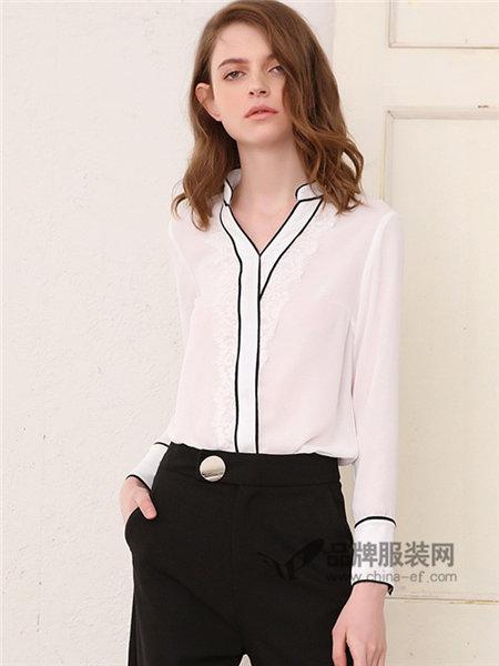她图女装2018春雪纺长袖衬衫韩版宽松蕾丝花边套头打底衫