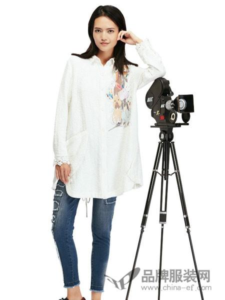 认同女装2018春夏雪纺长款印花白衬衫