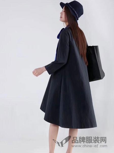 墨未已女装2018春夏休闲中长袖大衣