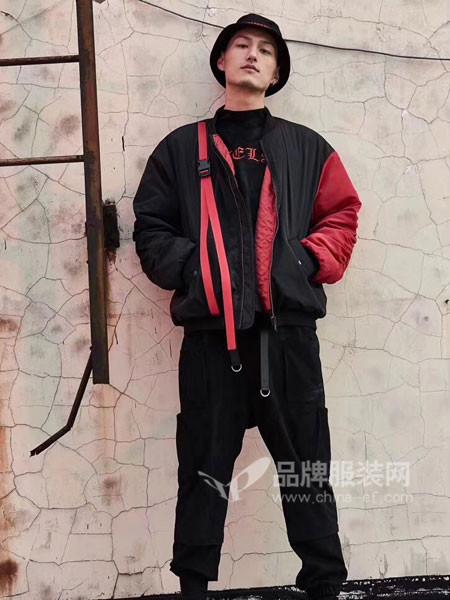 匿名者基地男装2018春休闲个性拼接短装夹克外套