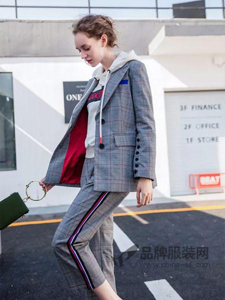 慕拉女装2018春时尚复古格子西装套装