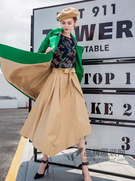慕拉女装2018春时尚百搭高腰系带不规则边半身裙