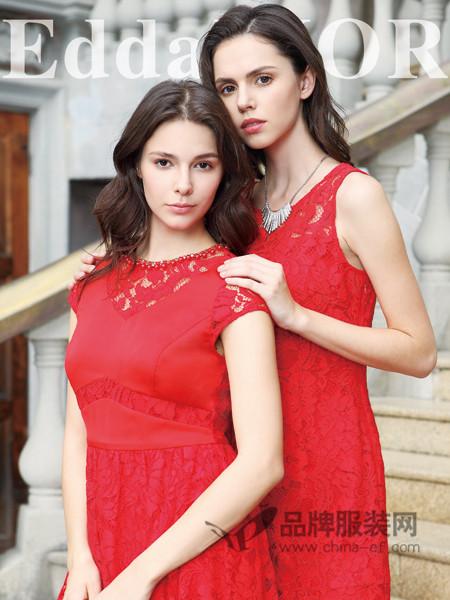 迪奥女装2018春夏时尚优雅气质蕾丝镂空领红色连衣裙