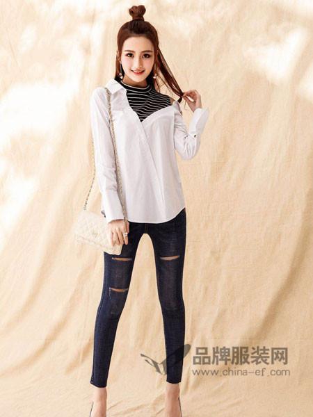蓝缇儿女装2018春韩版高领拼接条纹假两件棉麻白色衬衫