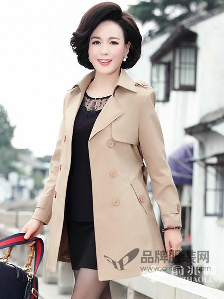 俞兆林女装2018春欧式中长卡其色风衣