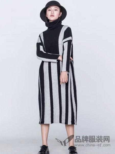 庄玛女装2017秋冬 条纹不对称鱼尾拼接长袖针织长裙