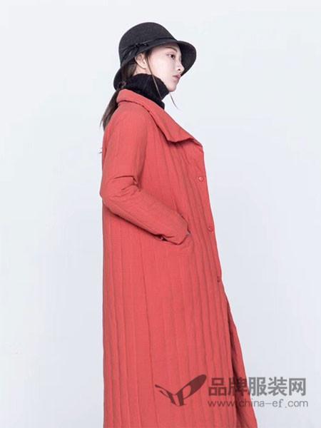 庄玛女装2017秋冬抽褶格纹中长款风衣外套