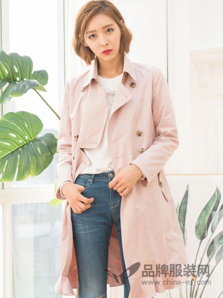 伽戈女装2018春夏端庄大气百搭粉色风衣外套