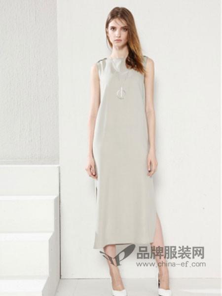 SENCELAND三石一澜女装时尚纯色无袖长款连衣裙