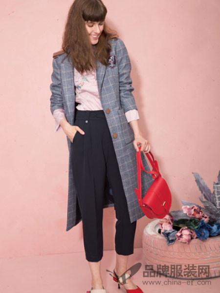 西蔻女装2018春复古灰色格子外套风衣
