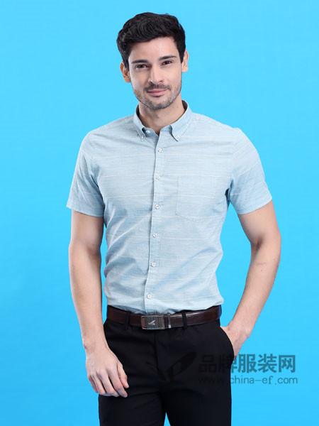 皇卡男装2018春夏韩版修身商务休闲短袖浅蓝衬衫