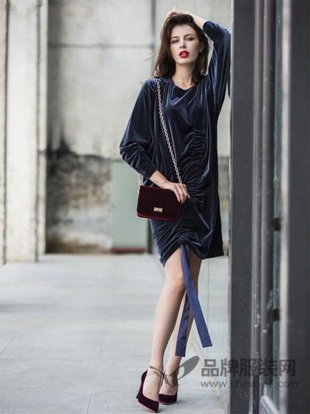 萨荻女装2018春夏新品修身长袖连衣裙
