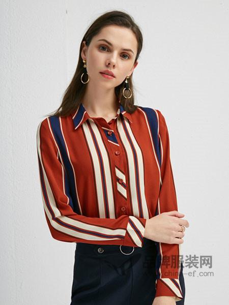 朗香女装2018春竖条纹衬衫