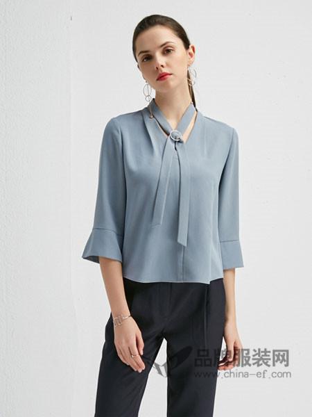 朗香女装2018春时尚雪纺喇叭袖上衣