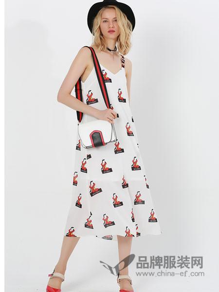 例格女装2018夏季吊带印花长裙