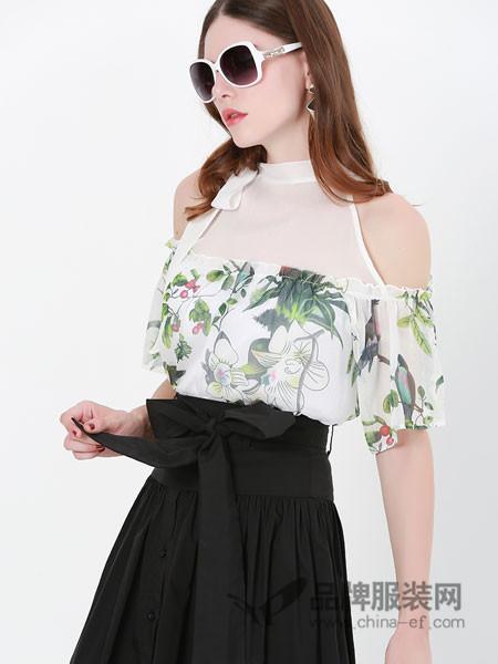 例格女装2018夏季网纱拼接一字肩
